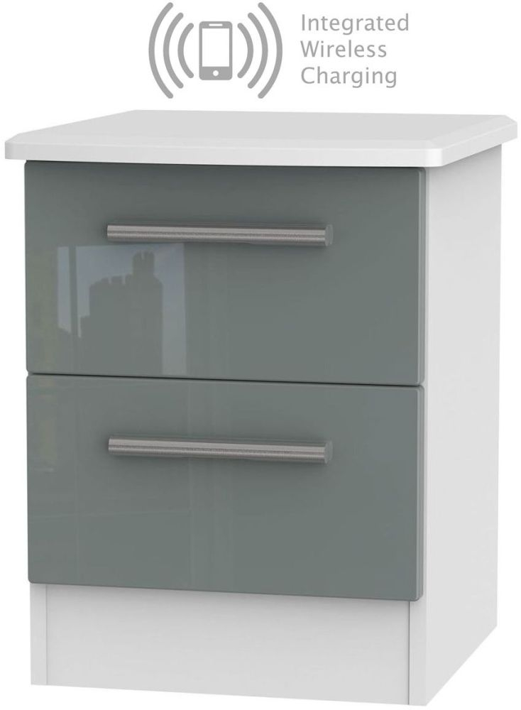 Knightsbridge 2 Drawer Bedside Cabinet with Integrated Wireless Charging - High Gloss Grey and White