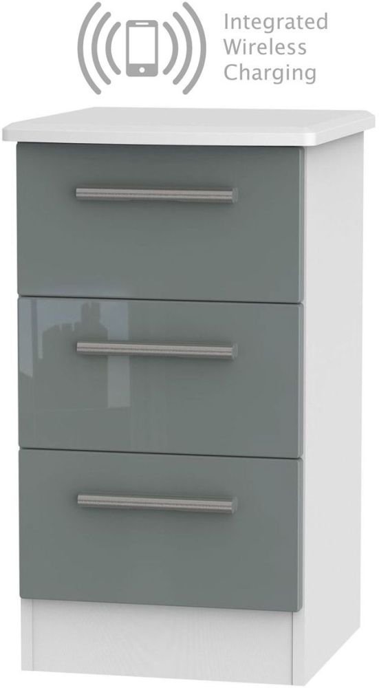 Knightsbridge 3 Drawer Bedside Cabinet with Integrated Wireless Charging - High Gloss Grey and White