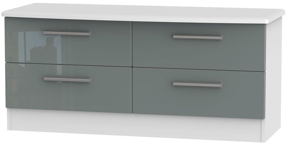 Knightsbridge Bed Box - High Gloss Grey and White