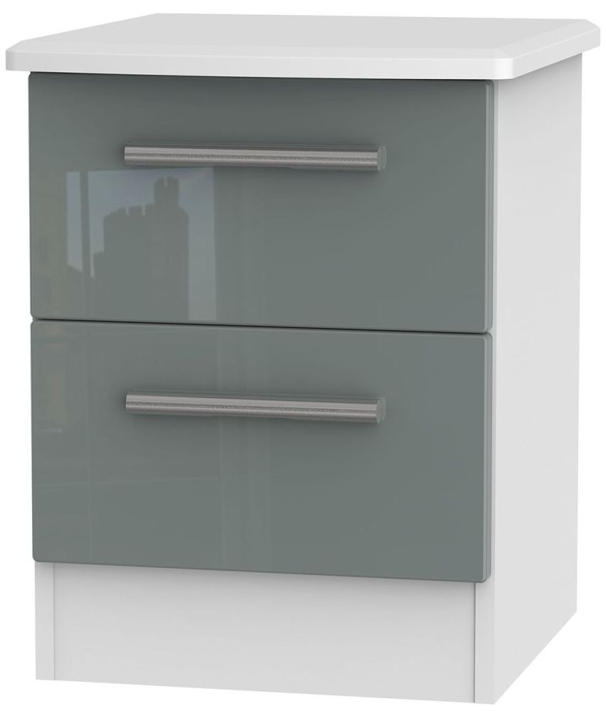 Knightsbridge High Gloss Grey and White Bedside Cabinet - 2 Drawer Locker