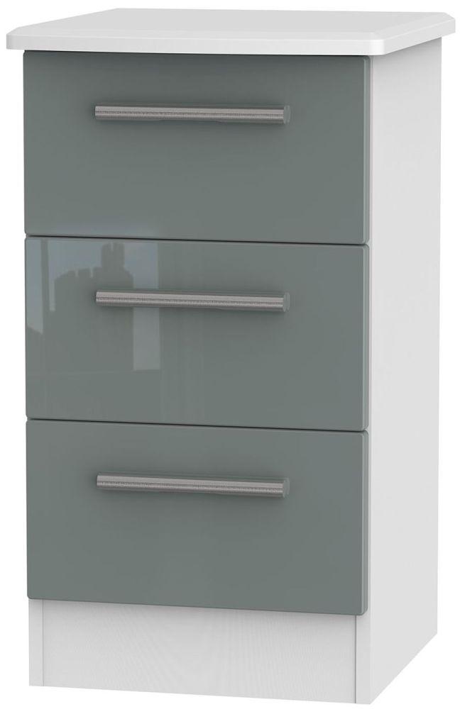 Buy knightsbridge high gloss grey and white 3 drawer locker bedside knightsbridge high gloss grey and white 3 drawer locker bedside cabinet watchthetrailerfo