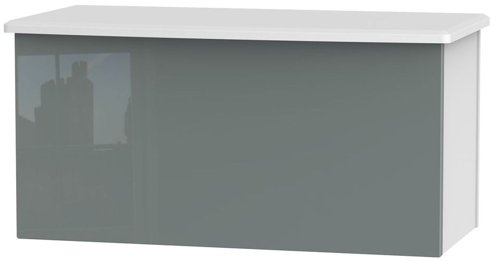 Knightsbridge High Gloss Grey and White Blanket Box
