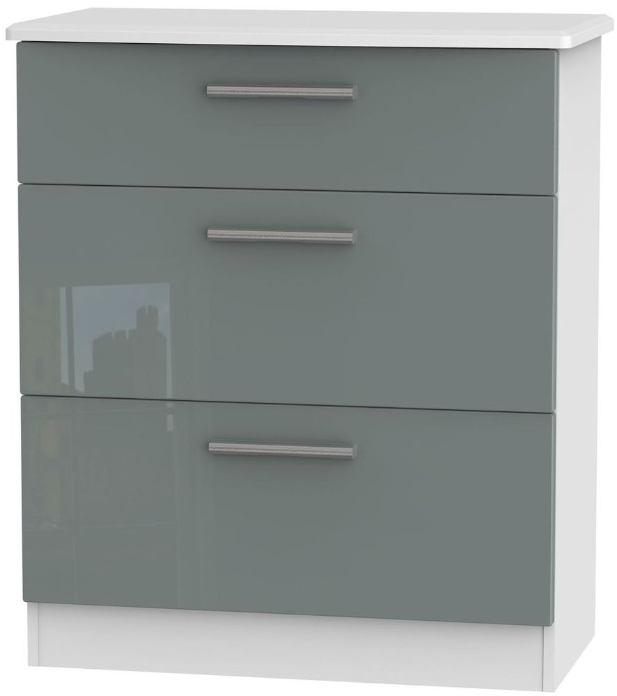 Knightsbridge 3 Drawer Deep Chest - High Gloss Grey and White