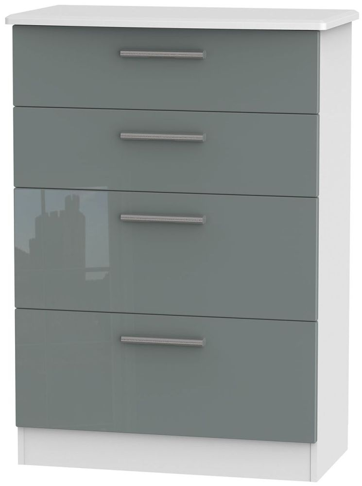 Knightsbridge High Gloss Grey and White Chest of Drawer - 4 Drawer Deep