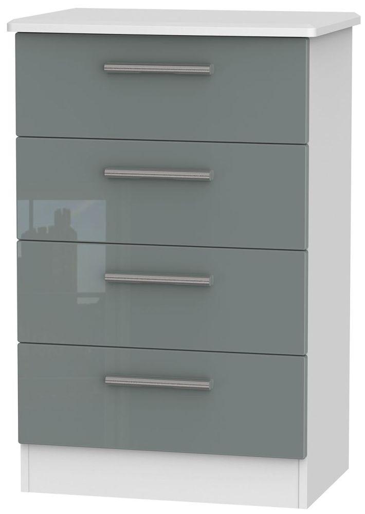 Knightsbridge High Gloss Grey and White Chest of Drawer - 4 Drawer Midi