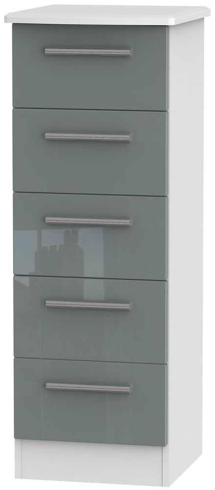 Knightsbridge 5 Drawer Tall Chest - High Gloss Grey and White