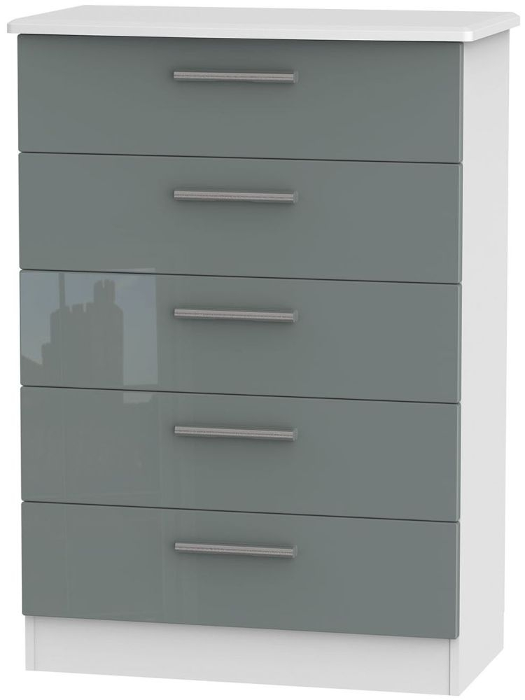 Knightsbridge 5 Drawer Chest - High Gloss Grey and White