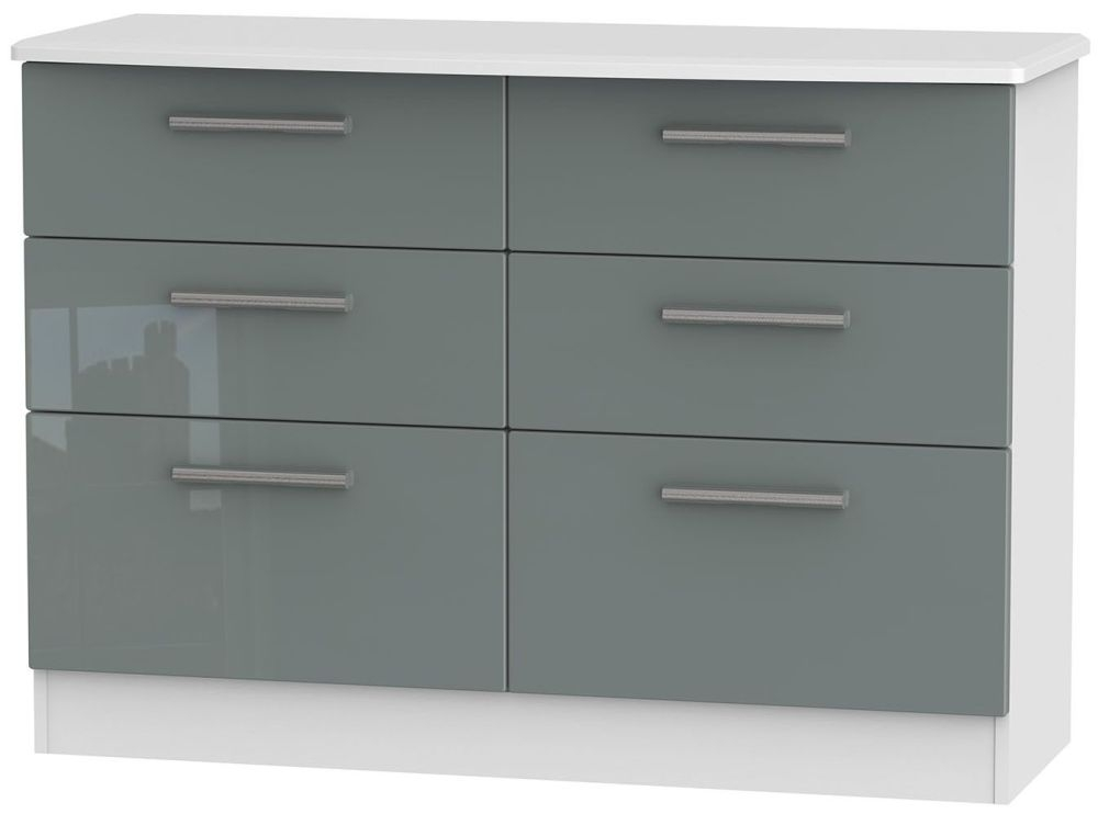 Knightsbridge High Gloss Grey and White Chest of Drawer - 6 Drawer Midi