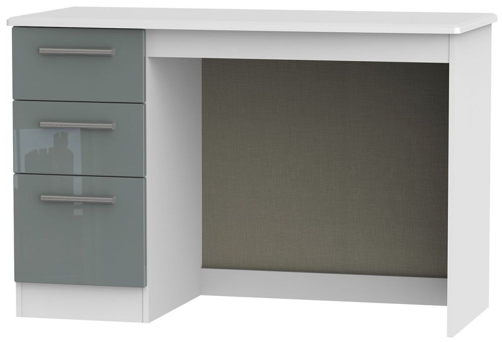Knightsbridge High Gloss Grey and White Desk - 3 Drawer