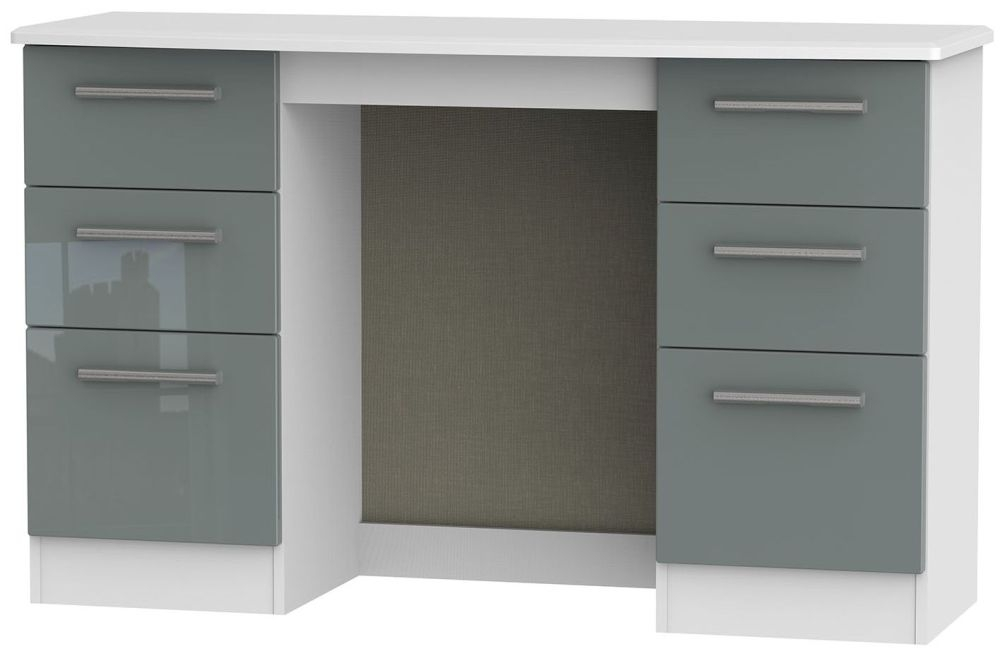Knightsbridge High Gloss Grey and White Dressing Table - Knee Hole Double Pedestal