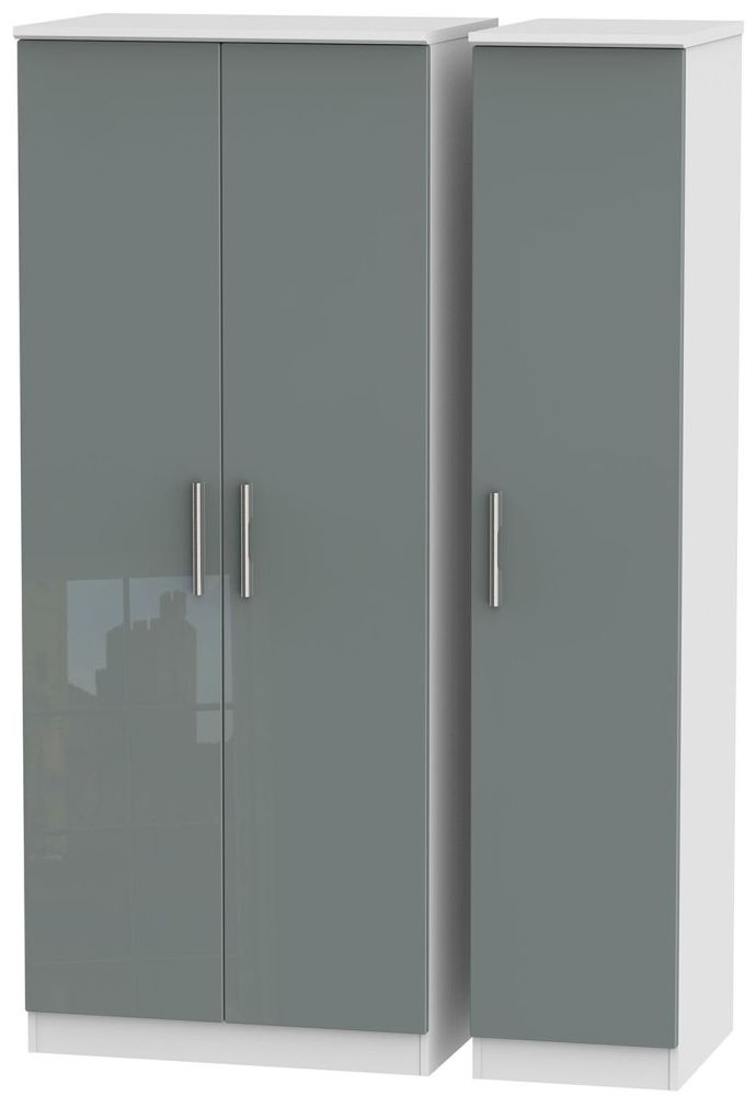 Knightsbridge High Gloss Grey and White Triple Plain Wardrobe