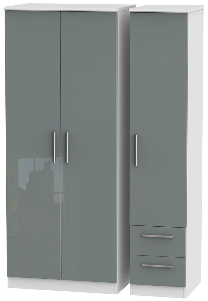Knightsbridge High Gloss Grey and White Triple Wardrobe - Plain with 2 Drawer