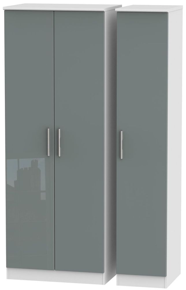 Knightsbridge High Gloss Grey and White Triple Wardrobe - Tall Plain