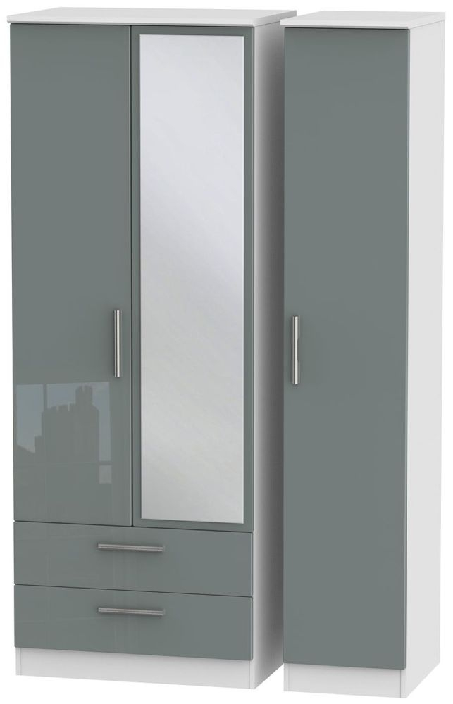 Knightsbridge High Gloss Grey and White Triple Wardrobe - Tall with 2 Drawer and Mirror