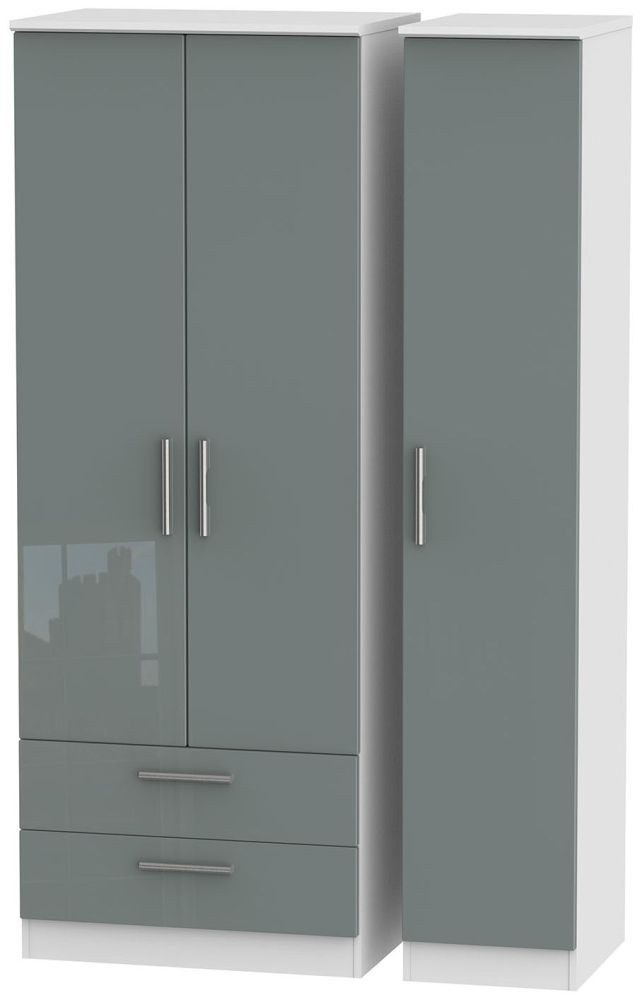 Knightsbridge High Gloss Grey and White Triple Wardrobe - Tall with 2 Drawer