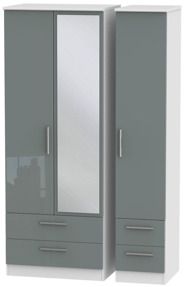 Knightsbridge High Gloss Grey and White Triple Wardrobe - Tall with Drawer and Mirror