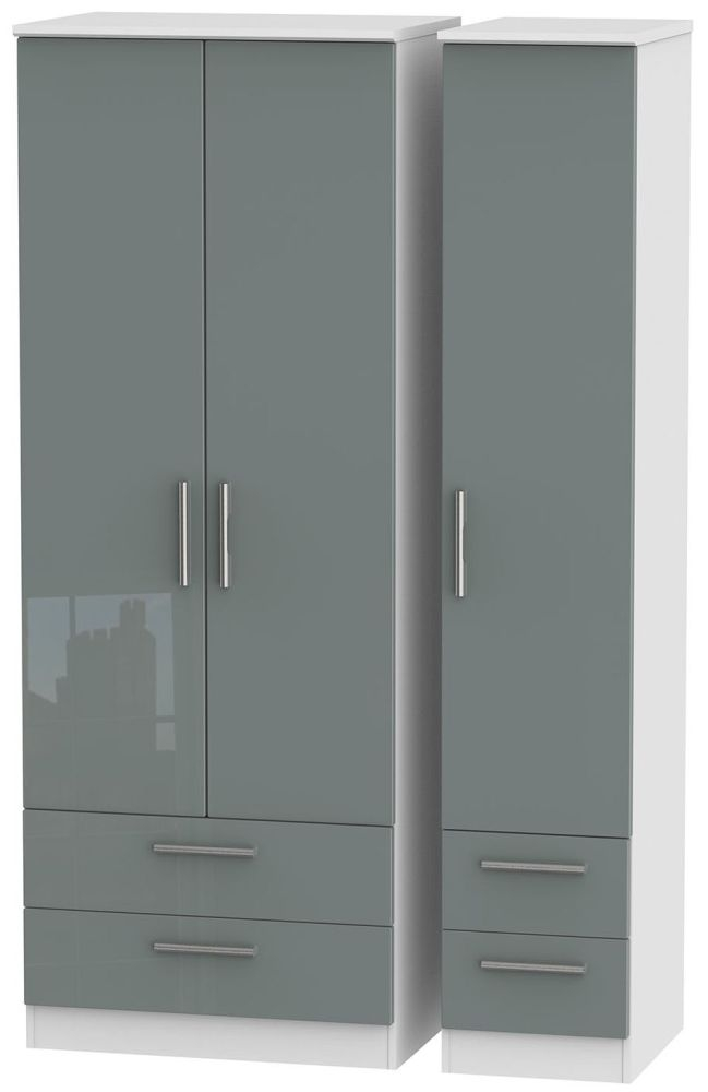 Knightsbridge High Gloss Grey and White Triple Wardrobe - Tall with Drawer