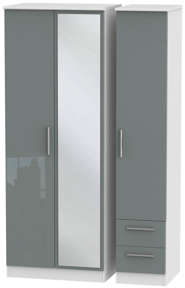 Knightsbridge High Gloss Grey and White Triple Wardrobe - Tall with Mirror and 2 Drawer