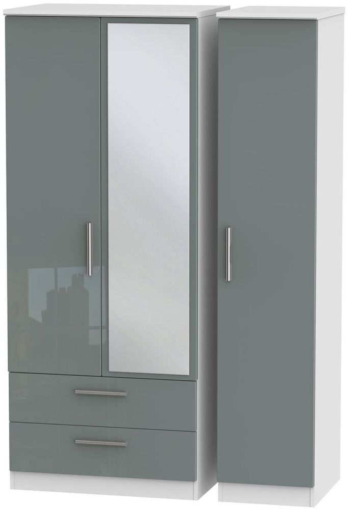 Knightsbridge High Gloss Grey and White Triple Wardrobe with 2 Drawer and Mirror