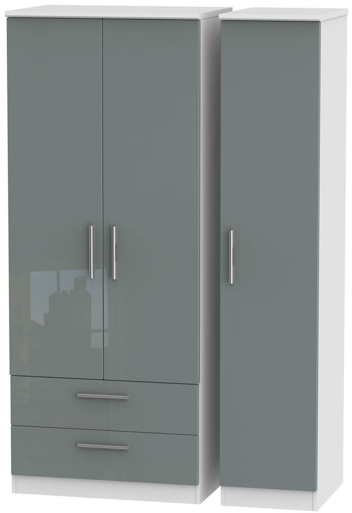 Knightsbridge High Gloss Grey and White3 Door 2 Drawer Triple Wardrobe