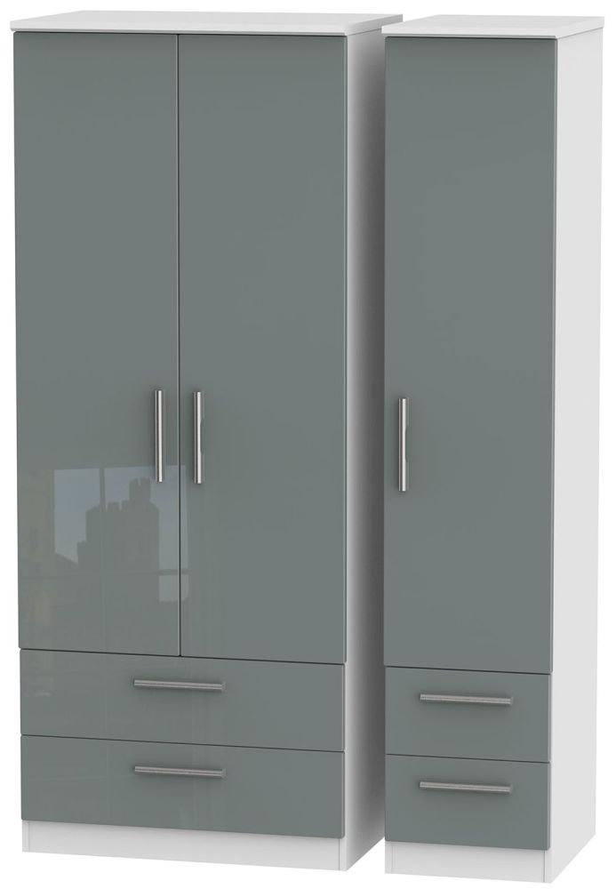 Knightsbridge High Gloss Grey and White Triple Wardrobe with Drawer