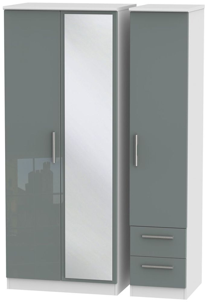 Knightsbridge High Gloss Grey and White Triple Wardrobe with Mirror and 2 Drawer