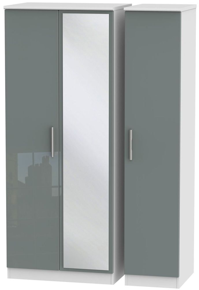 Knightsbridge High Gloss Grey and White Triple Wardrobe with Mirror