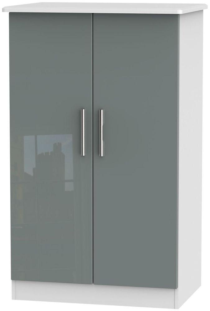 Knightsbridge High Gloss Grey and White Wardrobe - 2ft 6in Plain Midi