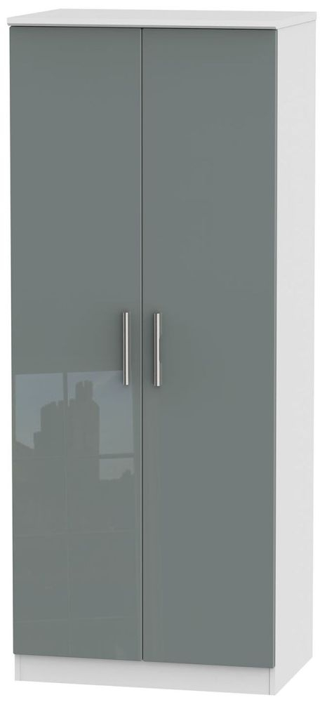 Knightsbridge High Gloss Grey and White Wardrobe - 2ft 6in Plain