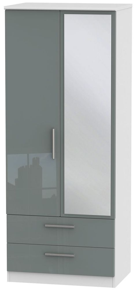 Knightsbridge High Gloss Grey and White Wardrobe - 2ft 6in with 2 Drawer and Mirror