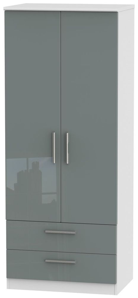 Knightsbridge High Gloss Grey and White Wardrobe - 2ft 6in with 2 Drawer