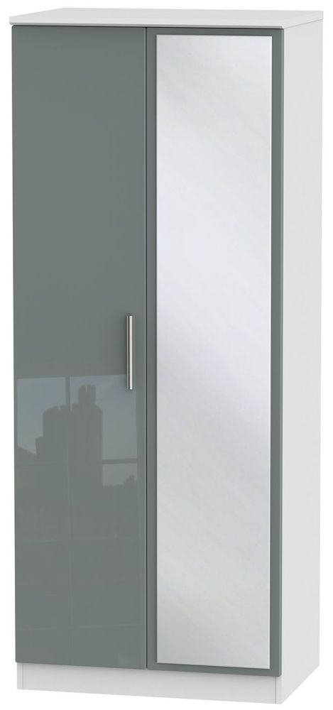 Knightsbridge High Gloss Grey and White Wardrobe - 2ft 6in with Mirror