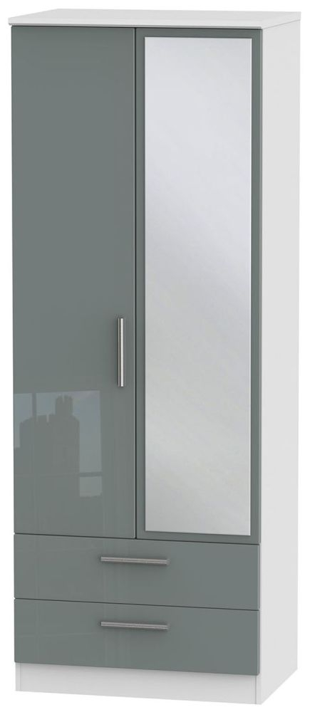 Knightsbridge High Gloss Grey and White Wardrobe - Tall 2ft 6in with 2 Drawer and Mirror