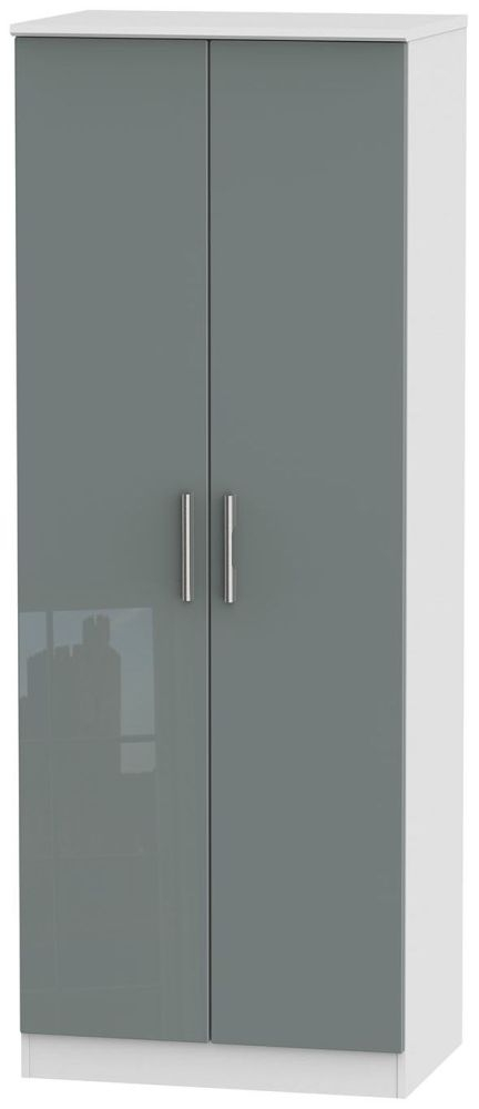 Knightsbridge High Gloss Grey and White Wardrobe - Tall 2ft 6in with Double Hanging