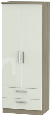 Knightsbridge 2 Door 2 Drawer Tall Wardrobe - High Gloss Kaschmir and Darkolino
