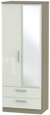 Knightsbridge 2 Door Tall Combi Wardrobe - High Gloss Kaschmir and Darkolino