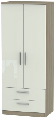 Knightsbridge 2 Door 2 Drawer Wardrobe - High Gloss Kaschmir and Darkolino