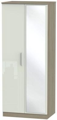 Knightsbridge 2 Door Mirror Wardrobe - High Gloss Kaschmir and Darkolino