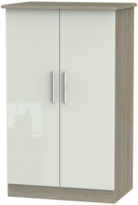 Knightsbridge 2 Door Midi Wardrobe - High Gloss Kaschmir and Darkolino