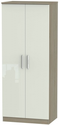 Knightsbridge 2 Door Wardrobe - High Gloss Kaschmir and Darkolino