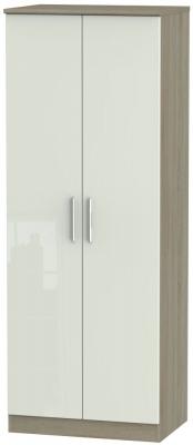 Knightsbridge 2 Door Tall Hanging Wardrobe - High Gloss Kaschmir and Darkolino