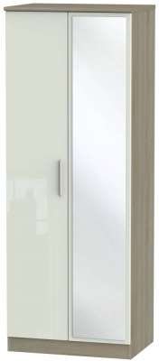 Knightsbridge 2 Door Tall Mirror Wardrobe - High Gloss Kaschmir and Darkolino