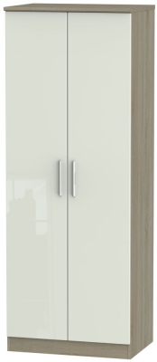 Knightsbridge 2 Door Tall Wardrobe - High Gloss Kaschmir and Darkolino