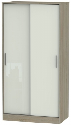 Knightsbridge 2 Door Sliding Wardrobe - High Gloss Kaschmir and Darkolino