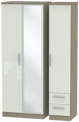 Knightsbridge 3 Door 2 Right Drawer Tall Combi Wardrobe - High Gloss Kaschmir and Darkolino