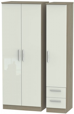 Knightsbridge High Gloss Kaschmir and Darkolino 3 Door 2 Drawer Tall Plain Triple Wardrobe