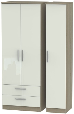Knightsbridge 3 Door 2 Left Drawer Tall Wardrobe - High Gloss Kaschmir and Darkolino