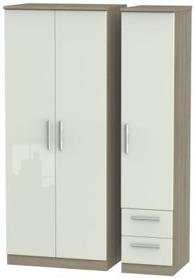 Knightsbridge 3 Door 2 Right Drawer Wardrobe - High Gloss Kaschmir and Darkolino