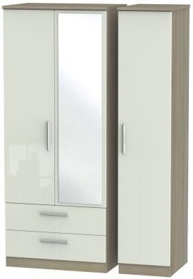 Knightsbridge 3 Door 2 Left Drawer Combi Wardrobe - High Gloss Kaschmir and Darkolino
