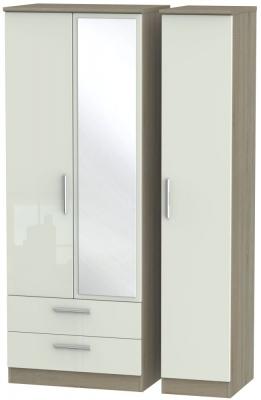 Knightsbridge 3 Door 2 Left Drawer Tall Combi Wardrobe - High Gloss Kaschmir and Darkolino